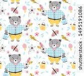 seamless pattern with cute bear.... | Shutterstock .eps vector #1495191086