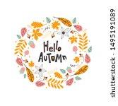 hello autumn wreath. card with... | Shutterstock .eps vector #1495191089