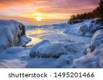 Frozen Lake Superior  Sunrise...