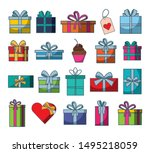 set of gifts boxes presents... | Shutterstock .eps vector #1495218059