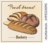 bread vector hand drawn set... | Shutterstock .eps vector #1495223090