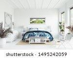 White Tropical Bedroom Interio...