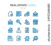 real estate icons. vector line... | Shutterstock .eps vector #1495268480