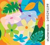 cherry blossom template vector. ... | Shutterstock .eps vector #1495291199