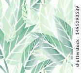 vector green fresh leaves...   Shutterstock .eps vector #1495293539