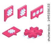 hashtag sign isometric icon....   Shutterstock .eps vector #1495358153