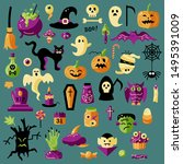 halloween celebratory subjects... | Shutterstock .eps vector #1495391009