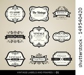 Stock vector vector set of calligraphic vintage labels and frames design elements 149540420