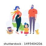 cartoon family. illustration of ...   Shutterstock . vector #1495404206