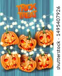 halloween trick or treat... | Shutterstock .eps vector #1495407926