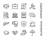 Law And Justice Line Icons Set...