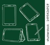 vector set of chalk sketch...   Shutterstock .eps vector #1495426919
