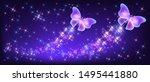 flying two neon butterflies... | Shutterstock .eps vector #1495441880