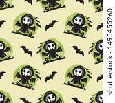 halloween theme seamless...   Shutterstock .eps vector #1495455260