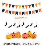 halloween garland line. garland ... | Shutterstock .eps vector #1495470590