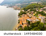 Lake Como (IT) - Santa Maria Rezzonico - aerial view - stock photo