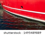 Side View Of Red Boat