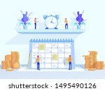 time management flat vector... | Shutterstock .eps vector #1495490126