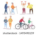 elderly people doing sport flat ... | Shutterstock .eps vector #1495490159