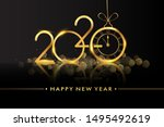happy new year 2020   new year... | Shutterstock .eps vector #1495492619