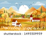 fantasy panorama landscapes of... | Shutterstock .eps vector #1495509959