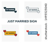 just married sign icon set.... | Shutterstock .eps vector #1495525040