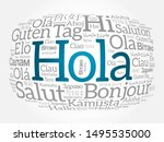 hola  hello greeting in spanish ... | Shutterstock .eps vector #1495535000