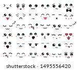 kawaii cute faces. manga style...   Shutterstock .eps vector #1495556420