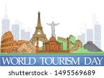 world tourism day background... | Shutterstock .eps vector #1495569689
