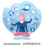 business yoga concept. young... | Shutterstock .eps vector #1495585319