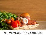 vegetables on a wooden bowl  at ...