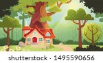 fairy forest with house and... | Shutterstock .eps vector #1495590656