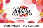autumn calligraphy . seasonal... | Shutterstock .eps vector #1495602806