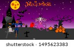 halloween night on the full... | Shutterstock .eps vector #1495623383