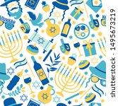 jewish holiday hanukkah... | Shutterstock .eps vector #1495673219