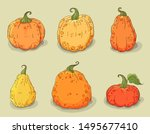 Pumpkins Icons Set. Isolated On ...