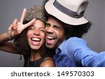 Stock photo happy couple in a photo booth 149570303