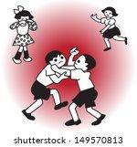 boy fighting and girl starting... | Shutterstock .eps vector #149570813
