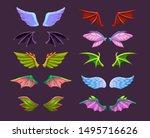 different cartoon animal wings... | Shutterstock .eps vector #1495716626