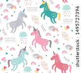 seamless pattern with cute... | Shutterstock .eps vector #1495727396