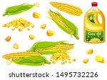 set corn oil  seed and leaf.... | Shutterstock .eps vector #1495732226