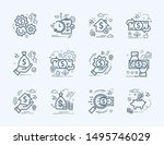 set vector line icons in flat... | Shutterstock .eps vector #1495746029