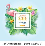summer sale card with pink... | Shutterstock .eps vector #1495783433