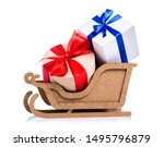 Christmas Wooden Sleigh With...