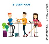 students in cafe communicate...   Shutterstock .eps vector #1495798406