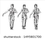 three woman traditional india... | Shutterstock .eps vector #1495801700
