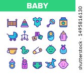 collection baby toys and... | Shutterstock .eps vector #1495816130