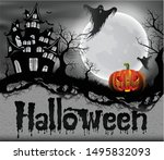 happy halloween background with ... | Shutterstock .eps vector #1495832093