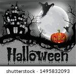 happy halloween background with ... | Shutterstock .eps vector #1495832093