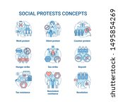 Social protests concept icons set. Public demonstrations, civil disobedience idea thin line illustrations. Political resistance, strikes and boycotts vector isolated outline drawings. Editable stroke